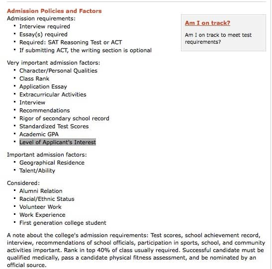 reading a college admission office s mind the naval academy puts many more admission factors into the very important category 10 in all and in contrast to cal tech the naval academy considers